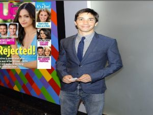 Justin Long, insert: Bachelorette coverage. (Getty, Us Weekly