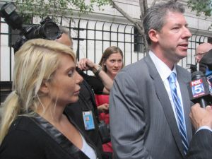 Kristin Davis and her attorney outside the court house this morning.