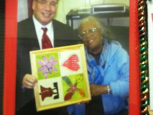 A photo of Mr. Stringer on the wall at the NYCHA housing complex.