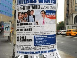 A parody poster advertising internships on the Weiner campaign. (Photo: NY Post)