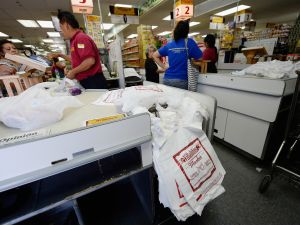 Some plastic bags in a supermarket. (Photo: Kevork Djansezian/Getty Images)