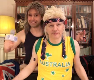 Here, Watch Julian Assange Lip Sync About the Australian Election in a Mullet