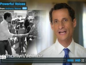 A scene from Anthony Weiner's first ad.
