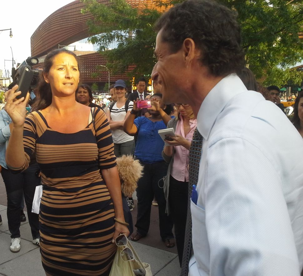 Not in Front of the Kids! Anthony Weiner Confronts Furious Heckler in Brooklyn