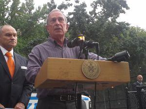 Mayor Michael Bloomberg in Brooklyn today.