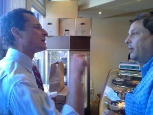Anthony Weiner and a Boro Park man engage in a shouting match earlier today.