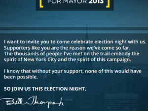 Bill Thompon's invite to supporters.