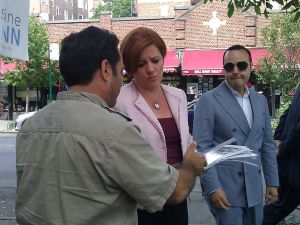 Christine Quinn on the campaign trail today.