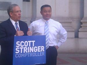 City comptroller and former mayoral candidate John Liu endorses Manhattan Borough President and city comptroller candidate Scott Stringer during an event today.