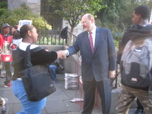 Joe Lhota campaigning in Brooklyn this morning.