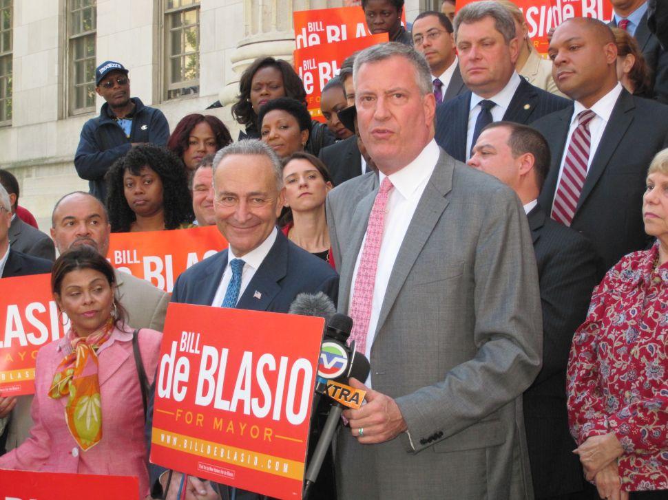 Chuck Schumer Stresses Bill de Blasio's Crime Credentials