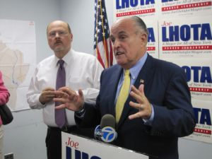 Rudy Giuliani campaigning with his former deputy, Joe Lhota.
