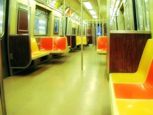 An R-train car dating to the 1970s.