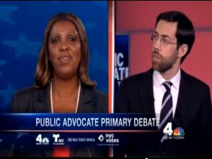 Councilwoman Tish James and State Senator Daniel Squadron face off in a debate. (Photo: YouTube)