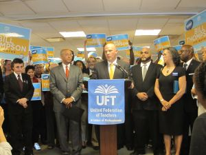 The UFT endorsing Bill Thompson in June.