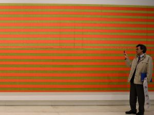 An untitled painting by Wade Guyton in 'Empire State' at the Palazzo delle Esposizioni in Rome in April. (Photo by Gabriel Bouys/AFP/Getty Images)