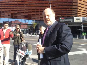 Joe Lhota across the street from the Barclay's Center.