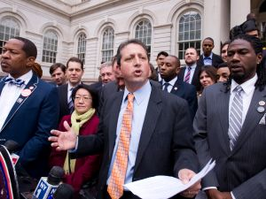 Councilman Brad Lander speaking this afternoon. (Photo: William Alatriste New York City Council)