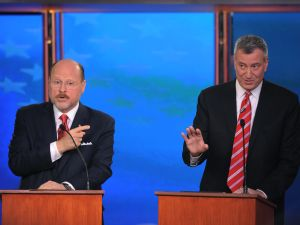 Joseph Lhota, left, with Mayor Bill de Blasio at a 2013 debate.
