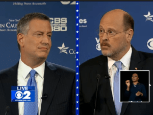 Bill de Blasio and Joe Lhota clash at the second mayoral debate of the general election.