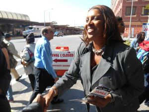 Tish James greets voters in Jamaica, Queens today.