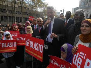 Bill de Blasio at the Muslim rally today.