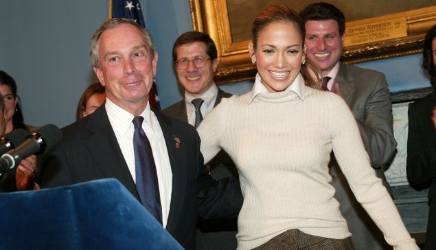 Mayor Michael Bloomberg and actress Jennifer Lopez. (Photo: Getty)