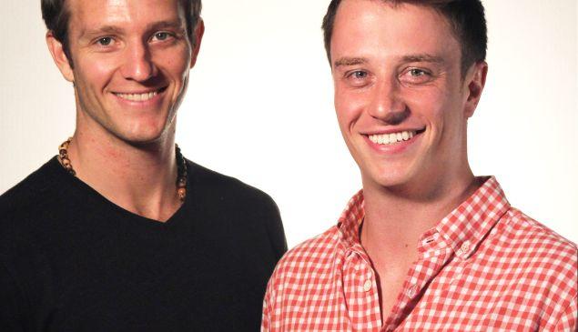 Tyler Gage and Dan MacCombie. Below, a bottle of Runa.