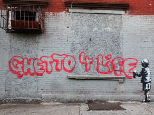 A work in The Bronx by street artist Banksy, completed during his New York City residency. (Photo: http://www.banksyny.com)