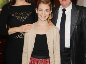 Emily Watson, Sophie Nélisse and Geoffrey Rush, from left.