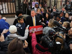 Bill de Blasio and his family hold a media availability after voting. (Photo: Getty)