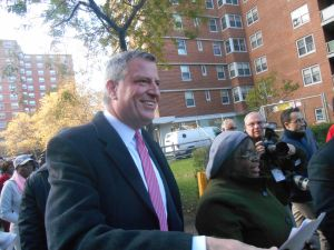 Bill de Blasio in Rochdale Village today.