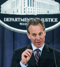 New York Attorney General Eric Schneiderman at a press conference.