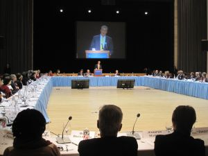 Bill de Blasio speaking at Columbia today.