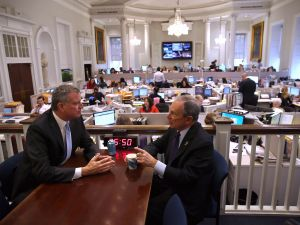 Mayor-elect Bill de Blasio and Mayor Michael Bloomberg. (Photo: John Moore/Getty)