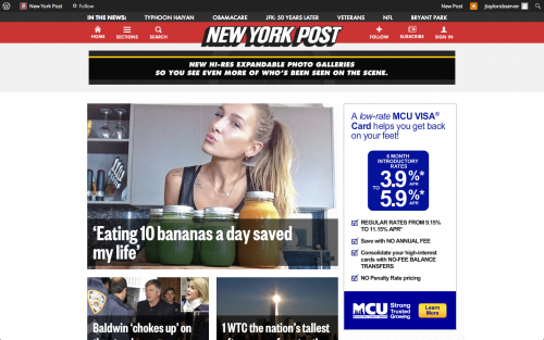 A Woman Who Only Eats Fruit Dominates the <em>New York Post</em>'s Homepage
