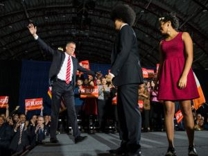 Mayor Bill de Blasio with his son Dante and daughter Chiara.