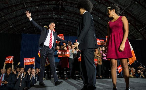 Mayor Bill de Blasio with his son Dante and daughter Chiara.