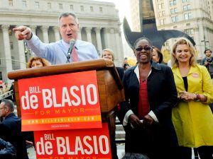 Bill de Blasio this afternoon. (Photo: William Alatriste)