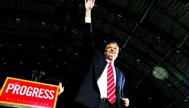 Bill de Blasio clamiing victory in 2013.