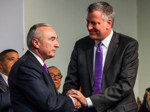 Mayor-elect Bill de Blasio with his pick for police commissioner, Bill Bratton. (Photo: Christopher Gregory/Getty)