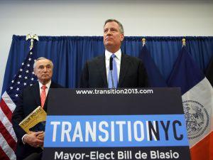 Bill de Blasio and Bill Bratton at the announcement event. (Photo: Spencer Platt/Getty)