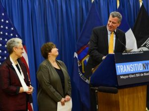 Bill de Blasio announcing his new ACS commissioner. (Photo: Twitter/ ‏@NYCTransition)