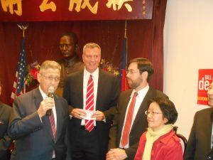 Bill de Blasio and Speaker Sheldon Silver at a de Blasio campaign event in October.