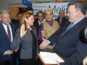 Councilwoman Melissa Mark-Viverito is sworn in for a third term.