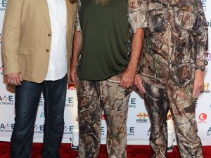 The stars of Duck Dynasty: Jase Robertson, Phil Robertson and Si Robertson at the A&E Networks 2012 Upfront at Lincoln Center. (Photo: Jason Kempin/Getty Images for A&E Networks)