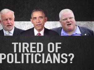 Tim Bishop, Barack Obama and Rob Ford in the ad. (Screengrab: YouTube)