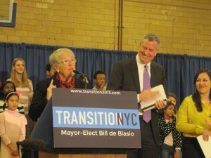 Bill de Blasio and his new schools chancellor, Carmen Farina.