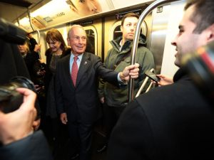Bloomberg riding the subway after his last day as mayor. (Photo: Edward Reed)