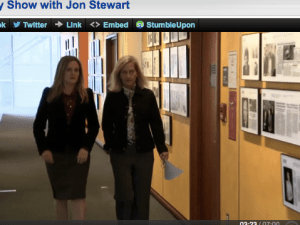 A screenshot of Samantha Bee and New York Times's Gretchen Morgenson on The Daily Show